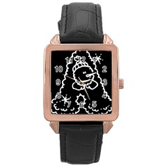 Funny Snowball Doodle Black White Rose Gold Leather Watch