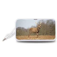 Red Deer Stag on a Hill Portable Speaker (White)