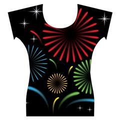 Fireworks With Star Vector Women s Cap Sleeve Top