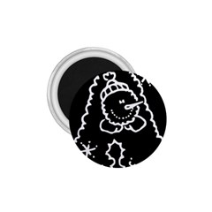 Funny Snowball Doodle Black White 1.75  Magnets
