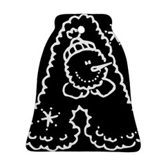 Funny Snowball Doodle Black White Bell Ornament (2 Sides)