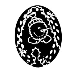 Funny Snowball Doodle Black White Ornament (Oval Filigree)