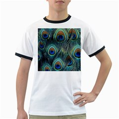 Feathers Art Peacock Sheets Patterns Ringer T-Shirts