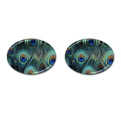 Feathers Art Peacock Sheets Patterns Cufflinks (Oval)