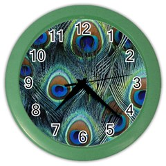 Feathers Art Peacock Sheets Patterns Color Wall Clocks