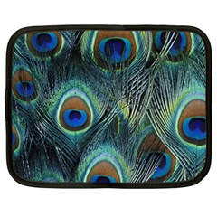 Feathers Art Peacock Sheets Patterns Netbook Case (Large)