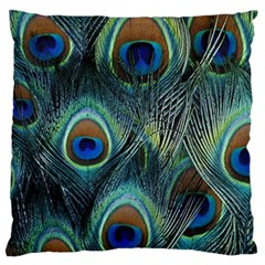 Feathers Art Peacock Sheets Patterns Large Cushion Case (One Side)