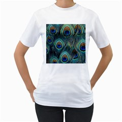 Feathers Art Peacock Sheets Patterns Women s T-Shirt (White)