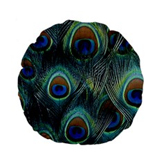 Feathers Art Peacock Sheets Patterns Standard 15  Premium Flano Round Cushions