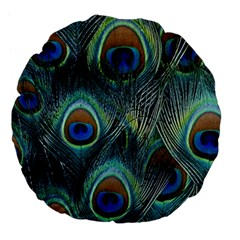 Feathers Art Peacock Sheets Patterns Large 18  Premium Flano Round Cushions