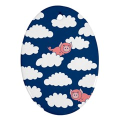 When Pigs Fly Oval Ornament (Two Sides)