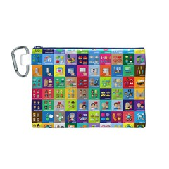 Exquisite Icons Collection Vector Canvas Cosmetic Bag (M)