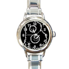 Funny Black And White Doodle Snowballs Round Italian Charm Watch