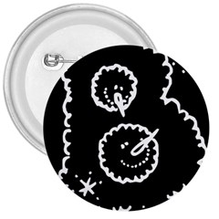 Funny Black And White Doodle Snowballs 3  Buttons