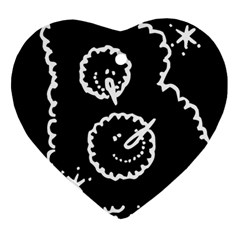 Funny Black And White Doodle Snowballs Ornament (Heart)