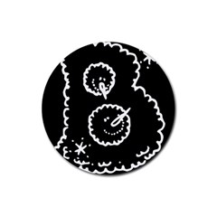 Funny Black And White Doodle Snowballs Rubber Coaster (Round)
