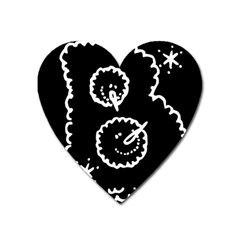 Funny Black And White Doodle Snowballs Heart Magnet