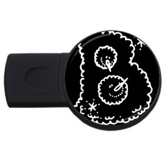 Funny Black And White Doodle Snowballs USB Flash Drive Round (1 GB)