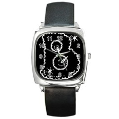 Funny Black And White Doodle Snowballs Square Metal Watch