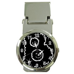 Funny Black And White Doodle Snowballs Money Clip Watches