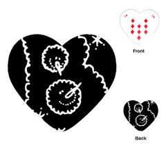 Funny Black And White Doodle Snowballs Playing Cards (Heart)