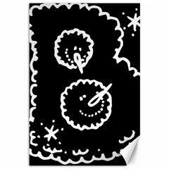 Funny Black And White Doodle Snowballs Canvas 12  x 18