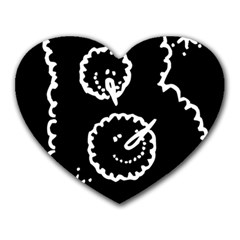 Funny Black And White Doodle Snowballs Heart Mousepads