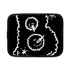 Funny Black And White Doodle Snowballs Netbook Case (Small)