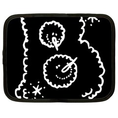 Funny Black And White Doodle Snowballs Netbook Case (Large)