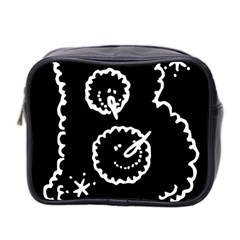 Funny Black And White Doodle Snowballs Mini Toiletries Bag 2-Side