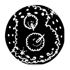 Funny Black And White Doodle Snowballs Ornament (Round Filigree)