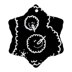 Funny Black And White Doodle Snowballs Snowflake Ornament (2-Side)