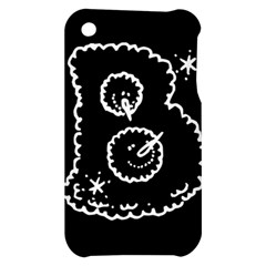 Funny Black And White Doodle Snowballs Apple iPhone 3G/3GS Hardshell Case