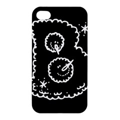 Funny Black And White Doodle Snowballs Apple iPhone 4/4S Hardshell Case
