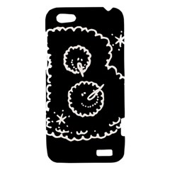 Funny Black And White Doodle Snowballs HTC One V Hardshell Case