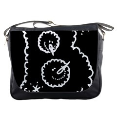 Funny Black And White Doodle Snowballs Messenger Bags