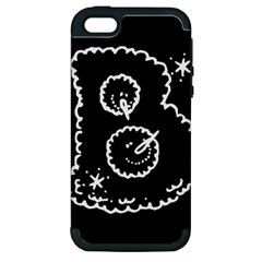 Funny Black And White Doodle Snowballs Apple iPhone 5 Hardshell Case (PC+Silicone)