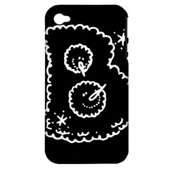 Funny Black And White Doodle Snowballs Apple iPhone 4/4S Hardshell Case (PC+Silicone)