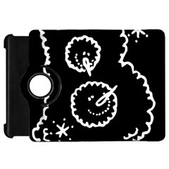 Funny Black And White Doodle Snowballs Kindle Fire HD Flip 360 Case