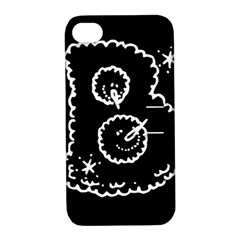 Funny Black And White Doodle Snowballs Apple iPhone 4/4S Hardshell Case with Stand