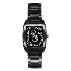 Funny Black And White Doodle Snowballs Stainless Steel Barrel Watch