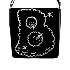 Funny Black And White Doodle Snowballs Flap Messenger Bag (L)