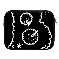 Funny Black And White Doodle Snowballs Apple iPad 2/3/4 Zipper Cases