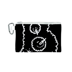 Funny Black And White Doodle Snowballs Canvas Cosmetic Bag (S)
