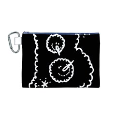 Funny Black And White Doodle Snowballs Canvas Cosmetic Bag (M)