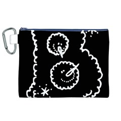 Funny Black And White Doodle Snowballs Canvas Cosmetic Bag (XL)