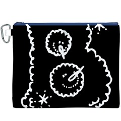 Funny Black And White Doodle Snowballs Canvas Cosmetic Bag (XXXL)