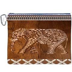 Elephant Aztec Wood Tekture Canvas Cosmetic Bag (XXXL)