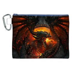 Dragon Legend Art Fire Digital Fantasy Canvas Cosmetic Bag (XXL)