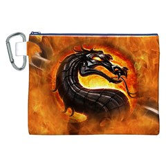 Dragon And Fire Canvas Cosmetic Bag (XXL)